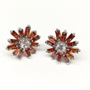 Jewelry - New white gold fill baguette studs fire flame star